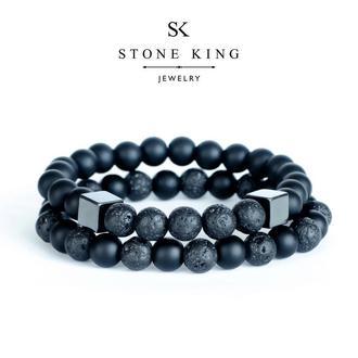 """Мужские браслеты """"My Way"""" и """"One"""" из натуральных камней шунгита и лавы (комплект)"""