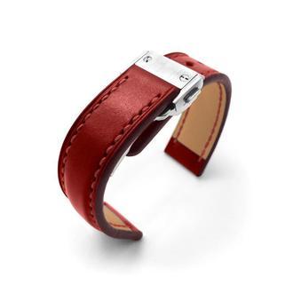Ремешок для часов с застёжкой автомат красный с белой / красной строчкой Royal Choice Lobster