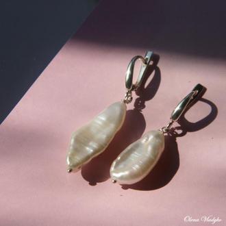 Серебряные серьги с жемчугом барокко, сережки с жемчугом