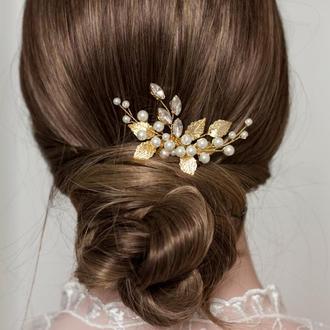 гребень в прическу с золотыми листьями  гребень для волос гребень для невесты