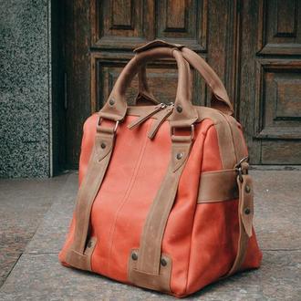 Женская дорожная сумка, Красный саквояж, Спортивная кожаная сумка
