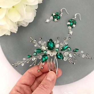 гребень в прическу гребень для волос гребень для невесты с зелеными камнями