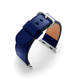 Ремешок для часов Apple Watch 44 42 40 38 синий без строчки кожаный изготовление на заказ