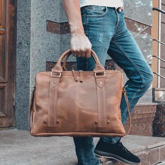 Коричневая кожаная сумка для ноутбука, Мужской кожаный портфель