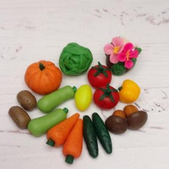 Овочі та фрукти з полімерної глини. Іграшкова їжа. Мініатюрні овочі та фрукти