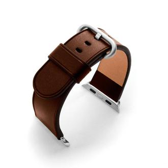 Ремешок для часов Apple Watch 38 40 42 44 тёмно-коричневый без строчки итальянская кожа изготовление