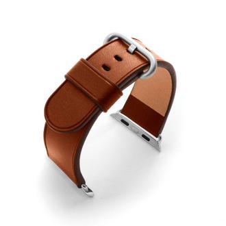 Ремешок для Apple Watch 38 40 42 44 кожаный коричневый без строчки итальянская кожа изготовление