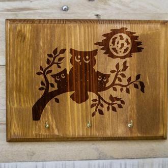 "Настенная ключница ""Сова"" 01 из дерева"