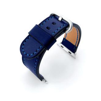 Ремешок для часов Apple Watch 38 40 42 44 синий кожаный итальянская кожа изготовление