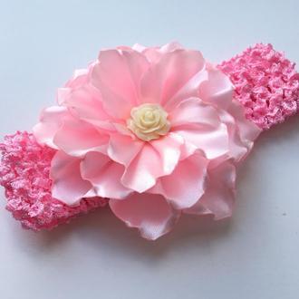 Повязка для малышки, ажурна рожева повязочка, пов'язка для новонароджених