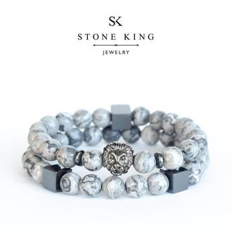 """Мужские браслеты """"Magic Lion"""" и """"My Way"""" из натурального камня серой яшмы (комплект)"""