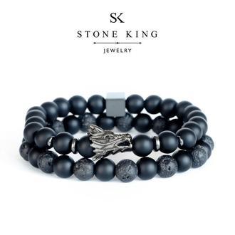 """Мужские браслеты """"Magic Dragon"""" и """"One"""" из натуральных камней шунгита и лавы (комплект)"""