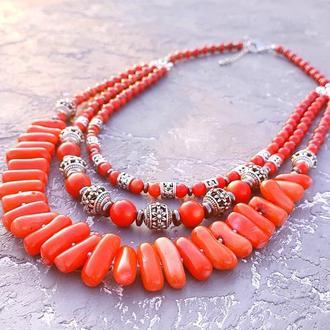 Намисто з коралів кольору лосось тьрохрядне стильне етно бусы из натурального коралла колье