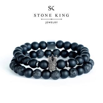 """Мужские браслеты """"King"""" и """"One"""" из натуральных камней шунгита и лавы (комплект)"""