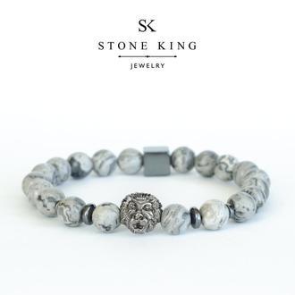 """Мужской браслет """"Magic Lion"""" из натурального камня серой яшмы"""