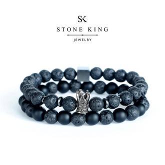 """Мужские браслеты """"King"""" и """"One"""" из натуральных камней лавы и шунгита (комплект)"""