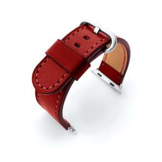 Ремешок для часов Apple Watch красный кожаный итальянская кожа изготовление на заказ