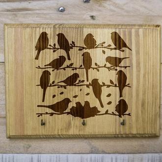 "Настенная ключница ""Птички"" 08 из дерева"