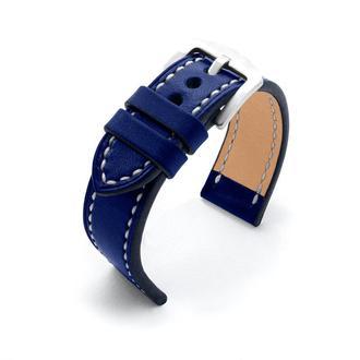 Ремешок для часов синий кожаный с белой/синей строчкой итальянская кожа изготовление на заказ