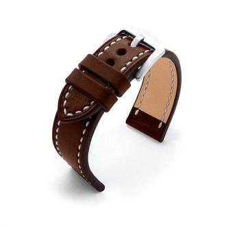 Ремешок для часов темно-коричневый кожаный со строчкой итальянская кожа изготовление на заказ