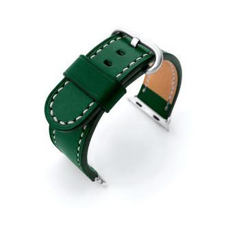 Ремешок для часов Apple Watch 38 40 42 44 зеленый кожаный итальянская кожа изготовление