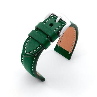 Ремешок для часов с утолщением зеленый кожаный со строчкой итальянская кожа изготовление на заказ
