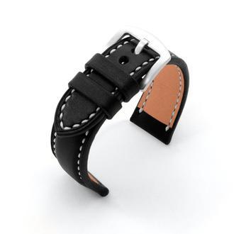 Ремешок для часов с утолщением черный кожаный со строчкой итальянская кожа изготовление на заказ