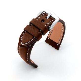 Ремешок для часов с утолщением коричневый кожаный со строчкой итальянская кожа изготовление на заказ
