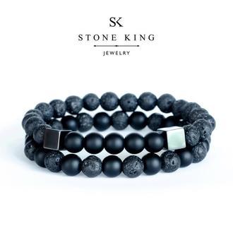 """Мужские браслеты """"My Way"""" и """"One"""" из натуральных камней лавы и шунгита (комплект)"""