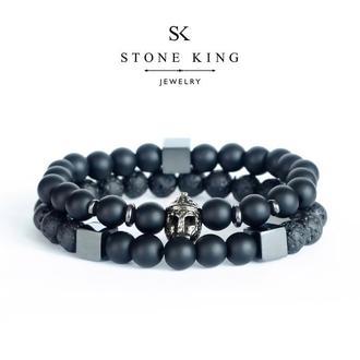 """Мужские браслеты """"Magic Warrior"""" и """"My Way"""" из натуральных камней шунгита и лавы (комплект)"""