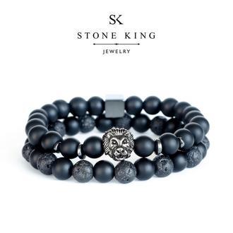 """Мужские браслеты """"Magic Lion"""" и """"One"""" из натуральных камней шунгита и лавы (комплект)"""