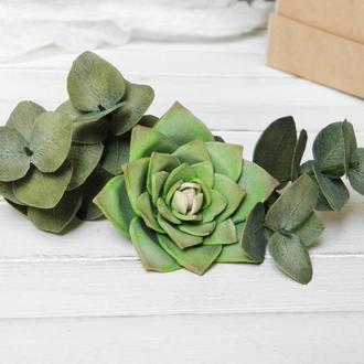 Зеленые Шпильки с суккулентом и эвкалиптом в прическу