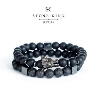 """Мужские браслеты """"Magic Dragon"""" и """"My Way"""" из натуральных камней шунгита и лавы (комплект)"""