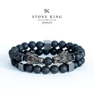 """Мужские браслеты """"Magic Dragon"""" и """"My Way"""" из натуральных камней лавы и шунгита (комплект)"""