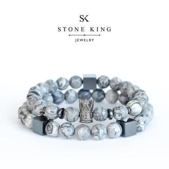 """Мужские браслеты """"King"""" и """"My Way"""" из натурального камня серой яшмы (комалект)"""