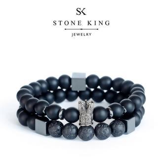 """Мужские браслеты """"King"""" и """"My Way"""" из натуральных камней шунгита и лавы (комплект)"""