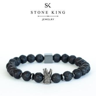 """Мужской браслет """"King"""" из натурального камня лавы"""