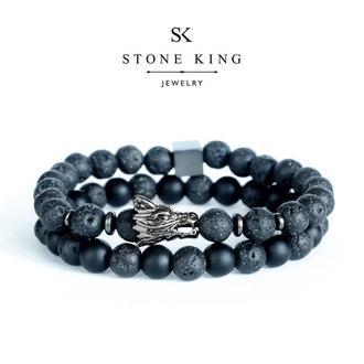 """Мужские браслеты """"Magic Dragon"""" и """"One"""" из натуральных камней лавы и шунгита (комплект)"""
