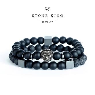 """Мужские браслеты """"Magic Lion"""" и """"My Way"""" из натуральных камней шунгита и лавы (комплект)"""