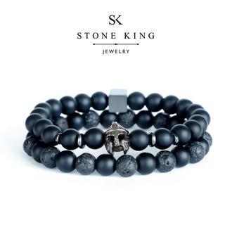 """Мужские браслеты """"Magic Warrior"""" и """"One"""" из натуральных камней шунгита и лавы (комплект)"""