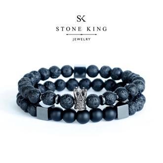 """Мужские браслеты """"King"""" и """"My Way"""" из натуральных камней лавы и шунгита (комплект)"""