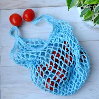 Сумка-авоська голубая, эко-сумка, сетка, сумка для покупок 09