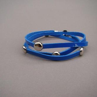 Браслет кожаный синий