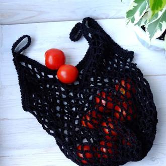 Сумка-авоська черная, эко-сумка, сетка, сумка для покупок 10