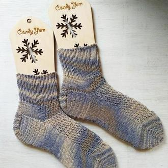 Льняные носки из пряжи секционной окраски
