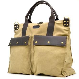 Универсальная сумка унисекс микс ткани канвас и кожи TARWA RC-1355-4lx