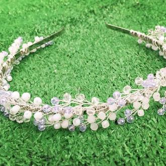 Свадебный ободочек нежно-фиолетовый