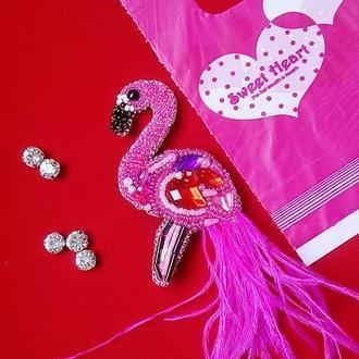 Великолепный розовый фламинго брошь ручной работы - с это символ исполнения ваших желаний.