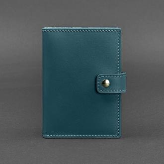 Кожаная обложка для паспорта 5.0 (с окошком) зеленая