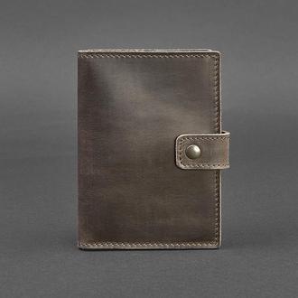 Кожаная обложка для паспорта 5.0 (с окошком) темно-коричневая